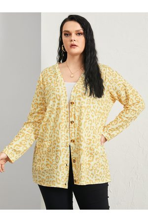 YOINS Plus Size Leopard Front Button Waffle Knit Pocket Long Sleeves Cardigan