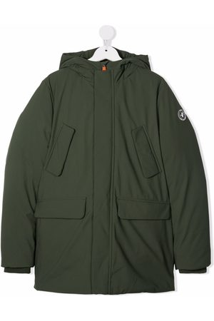 save the duck TEEN logo-patch padded hooded coat