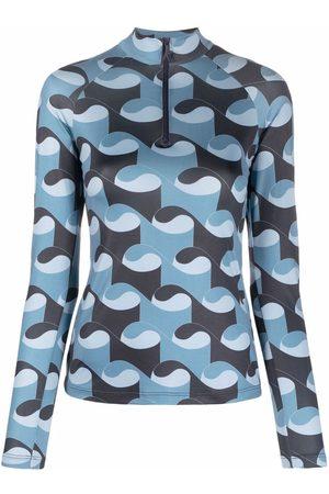 Kirin Geometric-print mock-neck top