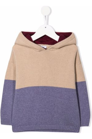 KNOT Gray colourblock knitted hoodie
