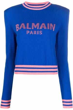 Balmain Logo-intarsia cropped jumper