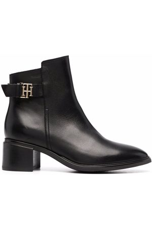 Tommy Hilfiger Logo-plaque heeled leather ankle boots