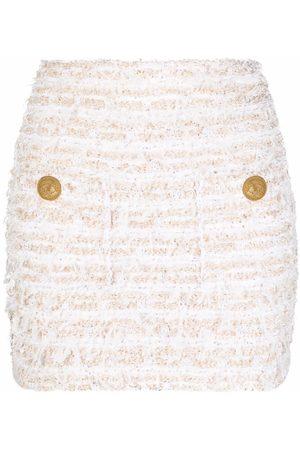 Balmain Lurex tweed pocket-front mini skirt