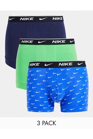 Nike Cotton stretch 3 pack trunks in mint/blue/navy-Multi
