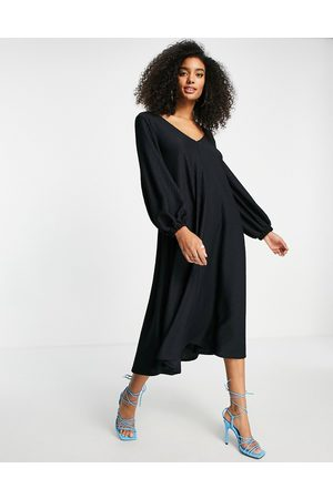 ASOS Women Midi Dresses - Textured smock midi dress with v neck in