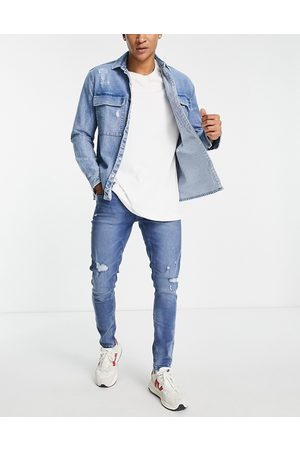 Only & Sons Skinny fit ripped jeans in mid