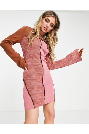 ASOS Knitted patchwork mini dress with seam detail