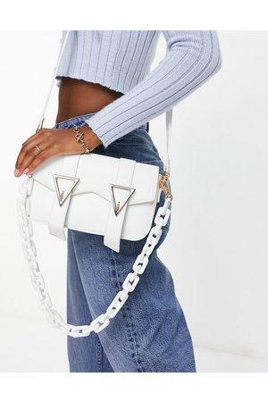 Glamorous Foldover bag with double buckle detail and resin chain in