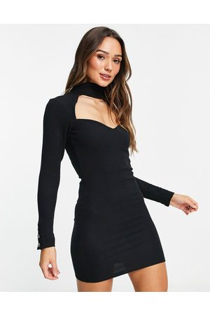 ASOS Keyhole mini long sleeve dress with gold buttons in