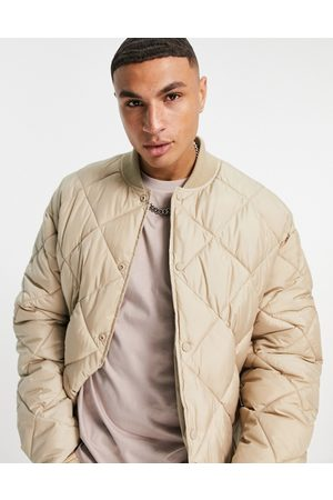 Topman Recycled quilted bomber jacket in stone-Neutral