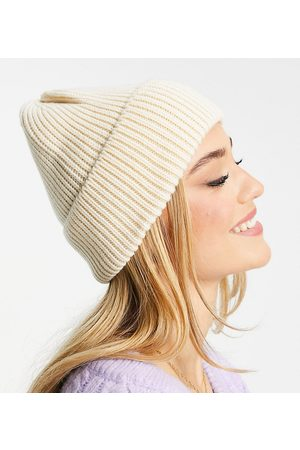 My Accessories London Exclusive chunky beanie in recycled cream yarn
