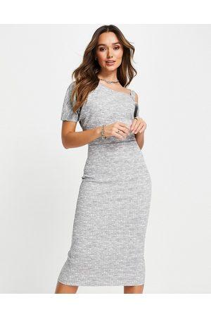 River Island Women Asymmetrical Dresses - Space dye asymmetric midi dress in marl