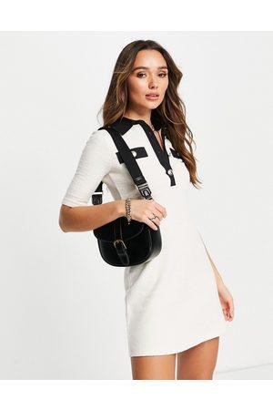 River Island Boucle collared mini dress in