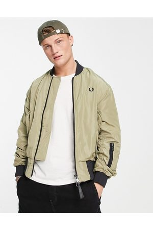 Fred Perry Contrast rib bomber jacket in sage