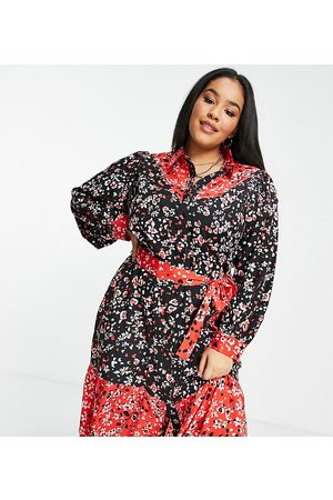 Wednesday's Girl Midi shirt dress in mix floral with tie waist-Multi