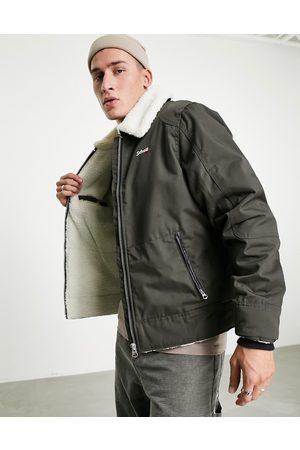 Schott NYC Okla sherpa collar and lining flight jacket in