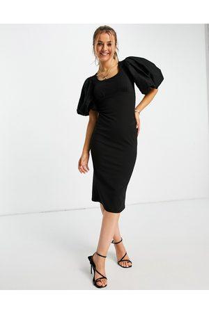 Miss Selfridge Extreme puff sleeve midi dress in