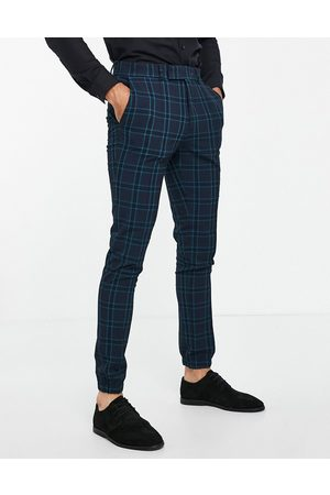 ASOS Co-ord smart skinny crepe check trousers with jogger cuff in teal