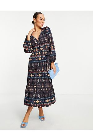 Never Fully Dressed Contrast stitch wrap midi dress in