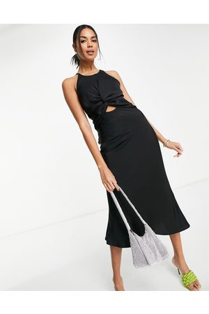 ASOS DESIGN Knot front satin midi dress with tie back detail in