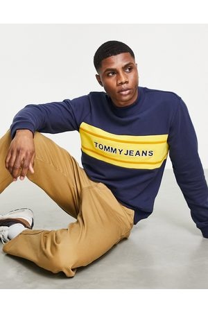 Tommy Hilfiger Chest band colourblock logo mock neck sweatshirt in navy