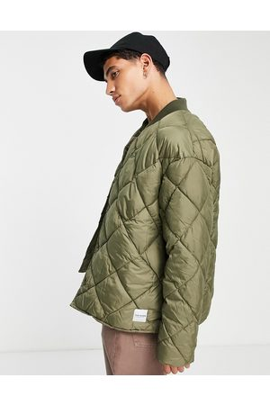 Topman Recycled quilted bomber jacket in olive
