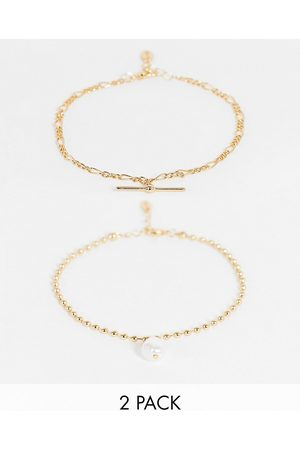 Liars & Lovers Pearl drop and chain anklets 2 x multipack in
