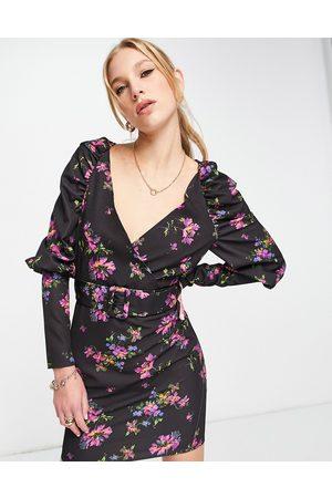 ASOS DESIGN Puff sleeve mini dress with belt in black base floral-Multi