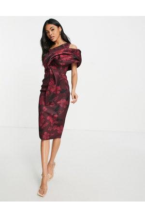 ASOS Peekaboo shoulder tuck midi pencil dress in print floral