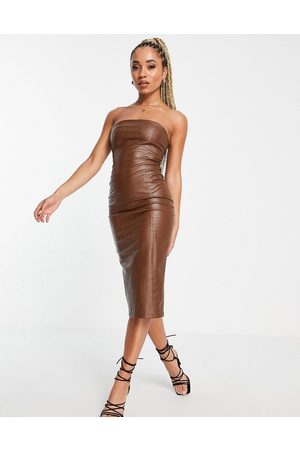 Missyempire Leather look bandeau midi dress in chocolate