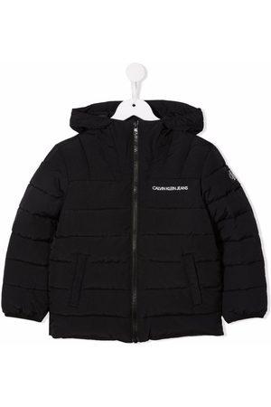 Calvin Klein Logo-print hooded padded coat