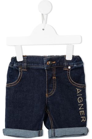 Aigner Logo-embroidered denim shorts