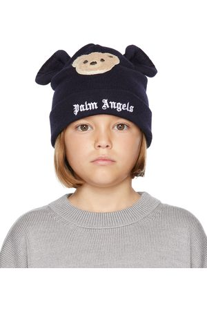 Palm Angels Beanies - Kids Navy Bear Beanie