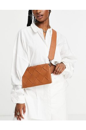 ASOS Leather multi gusset crossbody bag with weave in