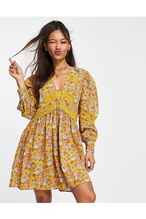 ASOS Lace insert mini smock dress in floral print-Multi