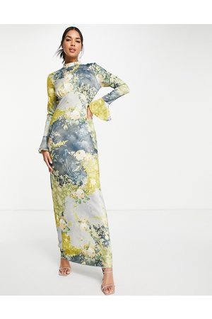 ASOS Satin maxi dress in vintage patchwork floral with flared cuff-Multi
