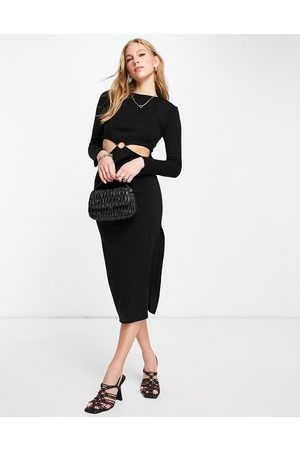 ASOS Women Casual Dresses - Knitted midi dress with ring waist detail in
