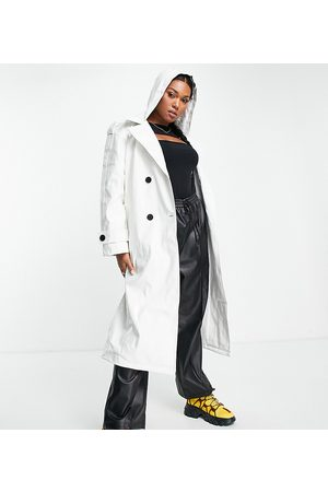 ASOS Curve ASOS DESIGN Curve glossy patent hooded trench coat in cream