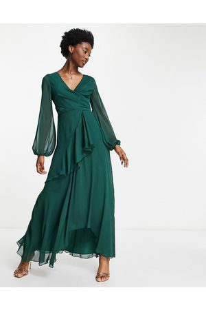 ASOS Wrap waist maxi dress with double layer skirt in forest