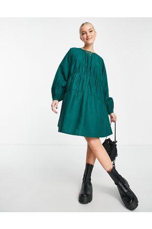 ASOS Cotton poplin tiered mini dress in bottle