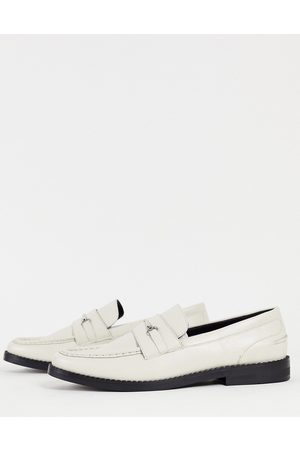 ASOS Loafer in off faux leather with contrast sole