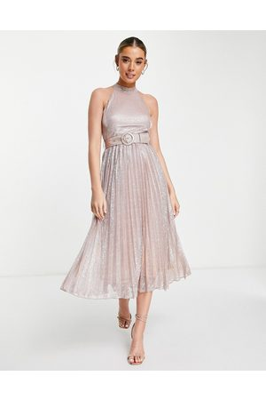 Style Cheat Metallic belted pleat midi dress in rose