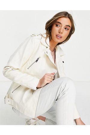 Miss Selfridge Faux leather longline biker jacket in cream