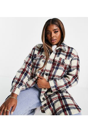 Simply Be Longline shacket in blue and red check-Multi