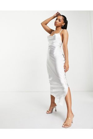 ASOS Cami maxi slip dress in high shine satin with lace up back in ivory
