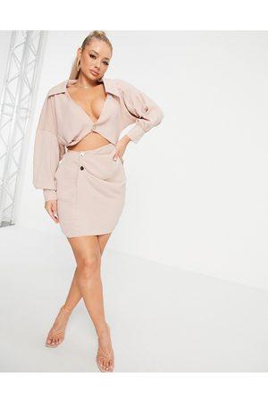 ASOS ASOS DESIGN linen shirt dress with cut out in natural linen