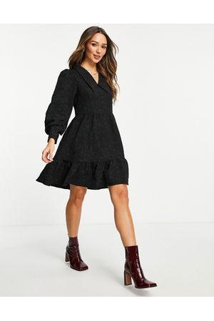 Y.A.S Jacquard print collar detail mini dress in