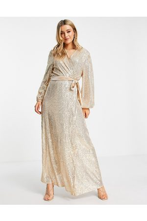 Style Cheat Duster wrap maxi dress in champagne sequin