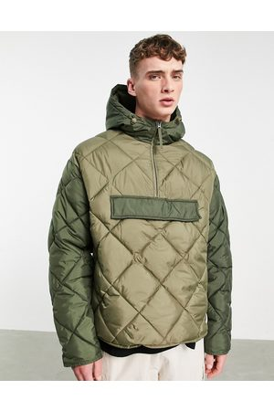 Topman Recycled quilted jacket with hood in olive and khaki