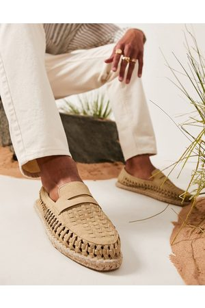 ASOS Espadrilles loafers in stone weave-Neutral